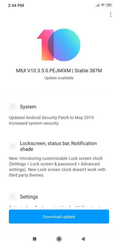 miui 10.3.5.0 changelog for poco f1