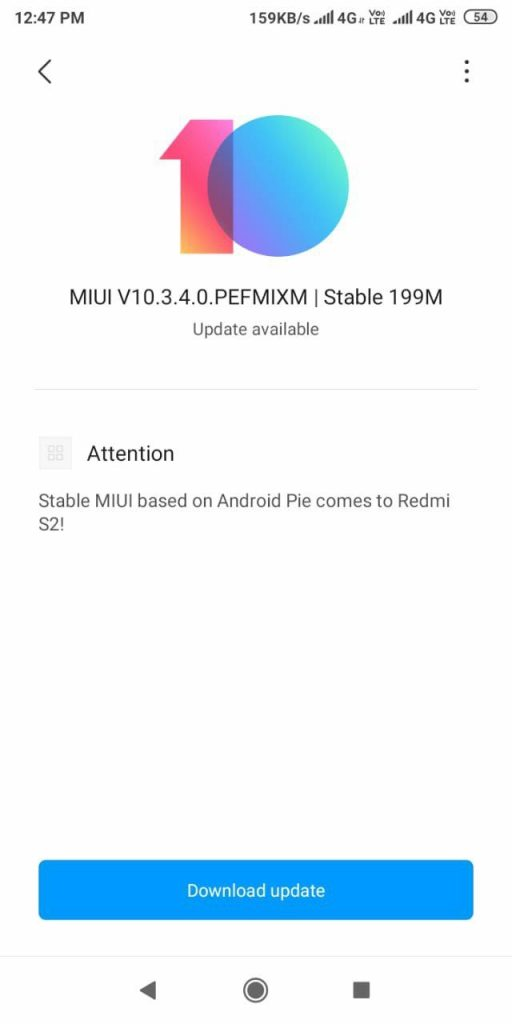 Android Pie Miui 10 3 4 0 Global Stable Update for Redmi Y2